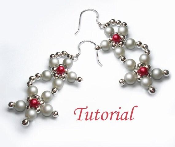 Beading Tutorial - Beaded Glory Of Winter Flowers Earrings Tutorial Pattern Pdf Downloadable Earrings Pattern Tutorial Dangle Drop Earrings