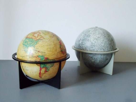 Earth and Moon Vintage Globes - Vintage Earth Scan Globe - Replogle Moon Globe - 6 inch Globes