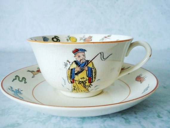 Ultra Rare Fortune Telling Tea Cup with Instructions - Vintage Fortune Telling - Fortune Telling Teacup and Saucer