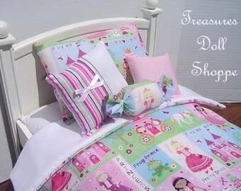Doll Bedding 5 Pc Set for 18 Inch Dolls - Pretty Princess