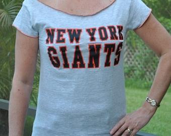 San Franscisco Giants NFL football  gray orange Gypsy Neck Upcycled t SHIRT TOP S - M