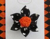 Halloween Fabric Flower with Rosette Fabric Center Hair Clip
