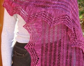 Knit Wrap Pattern:  Easy Shawl Edged Lace Shawl Knitting Pattern