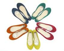 Bridesmaids Shoes - Handmade Leather Ballet Flats set of 5