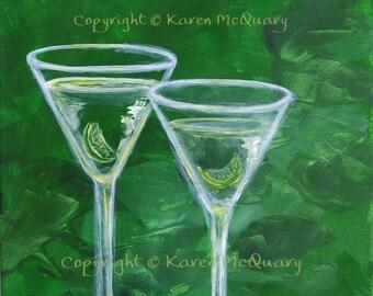 acrylic painting -Green Martinis- ORIGINAL-  restaurant, bar, art OOAK 12x12