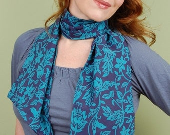 SCARF-Turquoise Floral Vines on Blue- fashion scarf