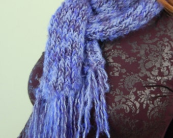 SCARF-hand knit-Cobalt to Navy Blue, variegated yarn