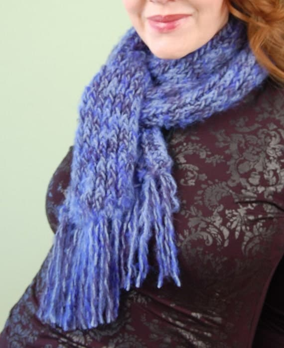 Items similar to SCARF-hand knit-Cobalt to Navy Blue ...