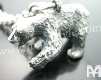 Sterling Silver Polar Bear Keychain