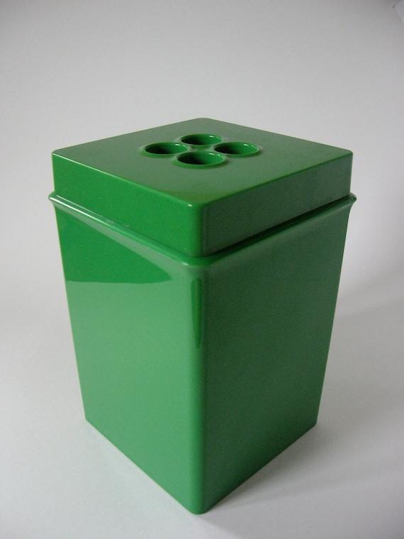 Midcentury Dansk gourmet plastic square canister kelly green 2 quart tall mod design