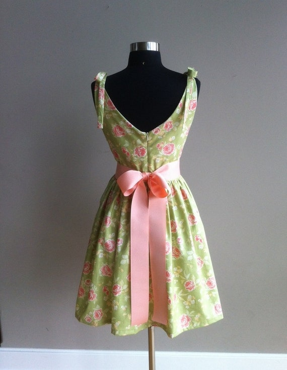 READY TO SHIP Cotton short dress, green floral