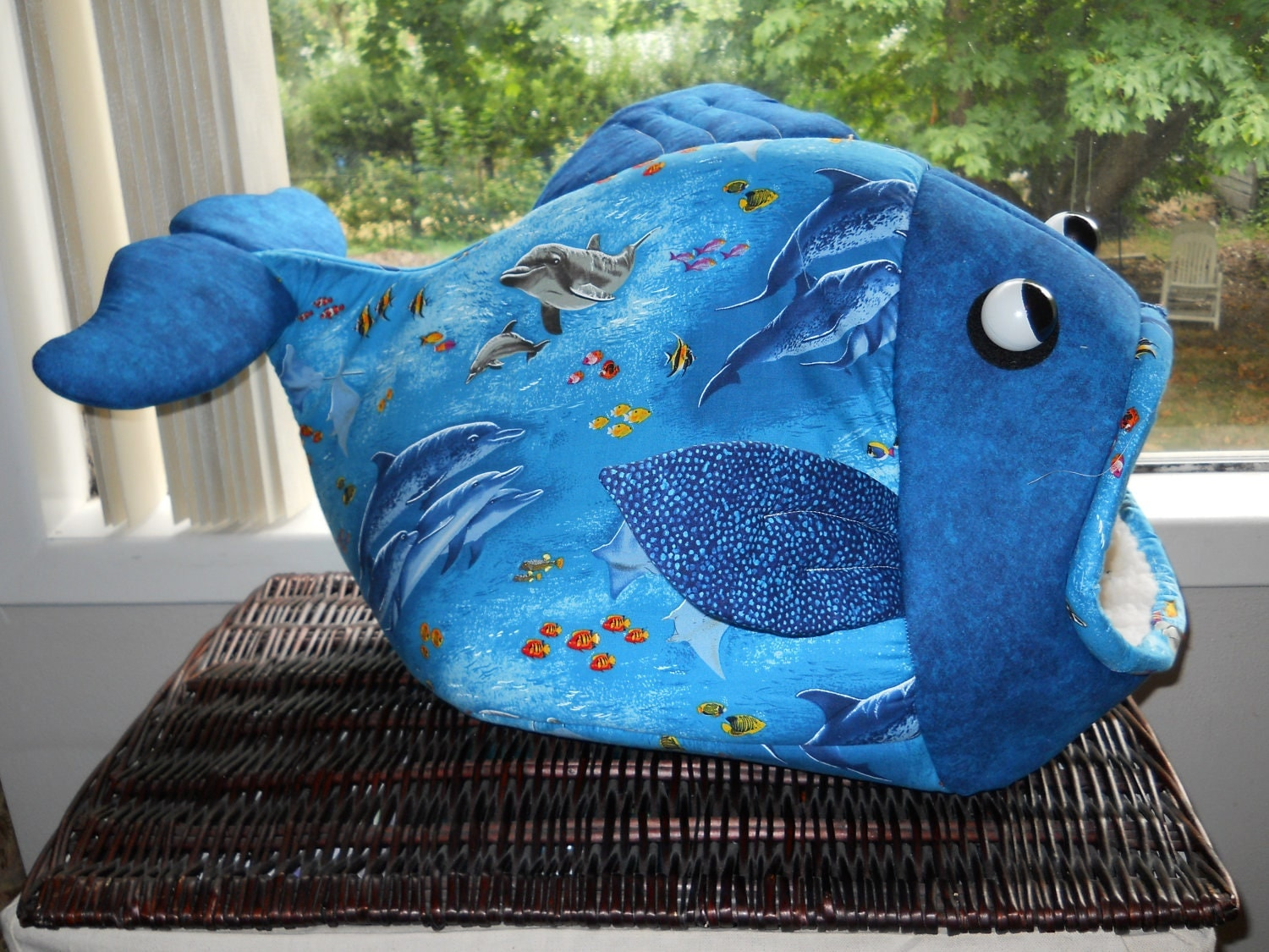 fish shaped pet bed ocean dolphins cat bed