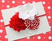 Fancy Christmas Peppermint Headband with Strings of Pearls  (Newborn, Toddler, Child)