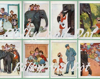 Vintage digital download collage sheet with 8 different illustrations Ameliar Anne illustrations for children circus elephant