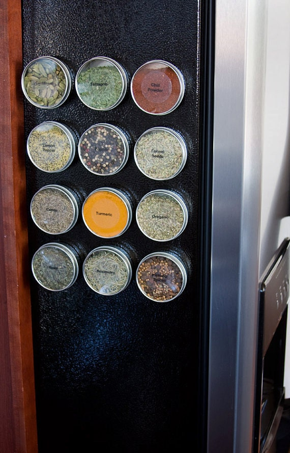 Magnetic spice tins - DIY spice rack for metal wall, refrigerator - 12 empty tins, spice labels, for kitchen storage and organization