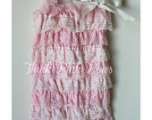 Pink and Ivory Petti Lace Romper,Baby girl Petti Romper, Petti Romper, Lace Romper, Romper, Bubble Romper,Photo prop.