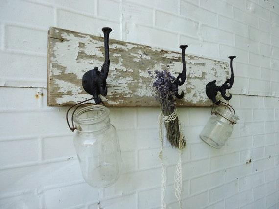 RESERVED for Bryanna - Antique Cottage Coat Rack with 2 Lightning Canning Jars