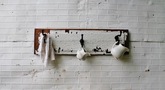 Antique Cottage Coat Rack - Wall Hooks - Salvaged Wood Door - 3 Metal Hooks - LARGE 39-1/2 x 10-5/8