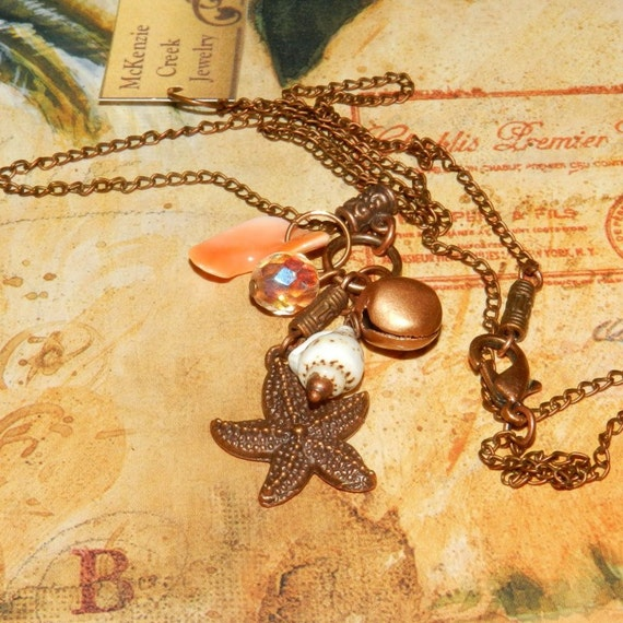clearance Jewelry Starfish Shell Cluster Necklace Ocean Theme Copper