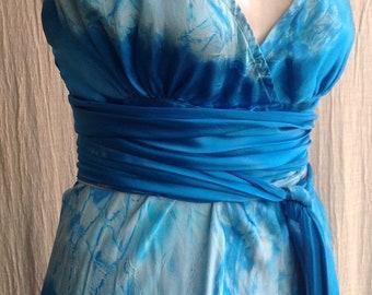 turquoise silk Boho chic vneck wedding dress with crinoline skirt mother of the bride