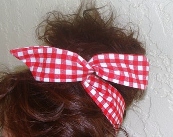 Dolly Bow, Red Gingham Checked Wire Headband