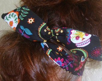 Dolly Bow, Sugar Skulls, Day of the Dead, Rockabilly Wire Headband Pin Up Woman Teen Girl