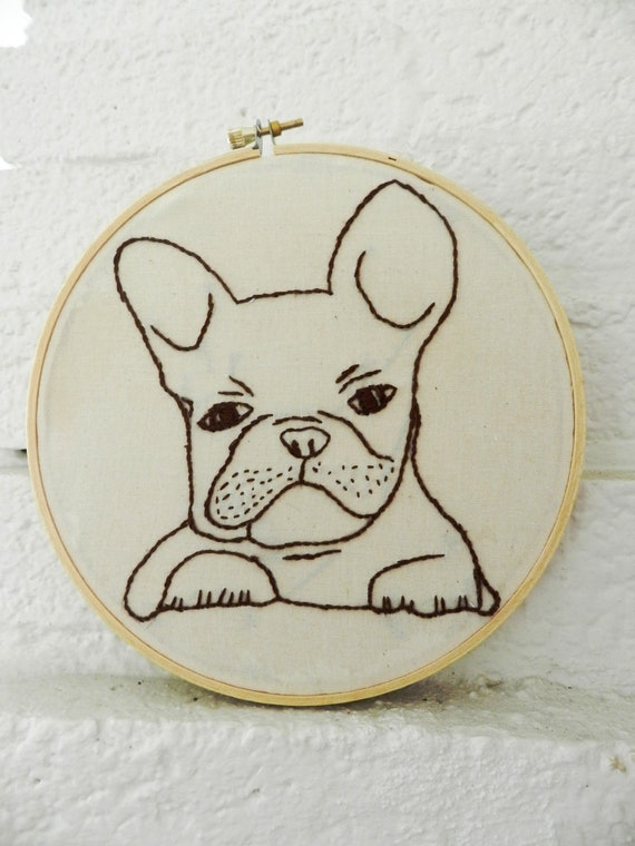 Pet Portrait. All Dog Breeds.  French Bulldog Hoop Art. Embroidery Hoop Art. Pet Art.  French Bull Dog. Personalized Pets Gift. Dog. Cats.