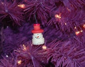 Mr. Snowman Button Christmas Tree Ornament with Pink Top Hat - Proceeds Benefit Cancer Research