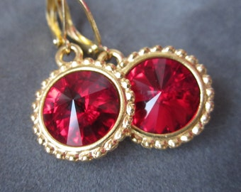 January Birthstone Earrings, Gold Garnet Earrings, Birthstone Jewelry, Red Drop Earrings