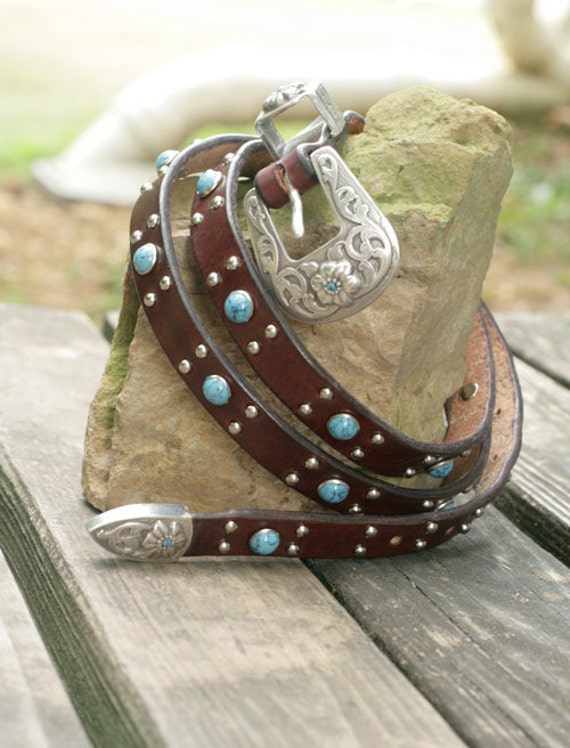 Leather Belt with Faux Turquoise Accents