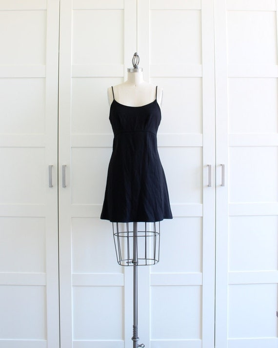90s Babydoll Dress, Empire Waist Grunge Dress, Spaghetti Strap Little Black Dress, size Medium