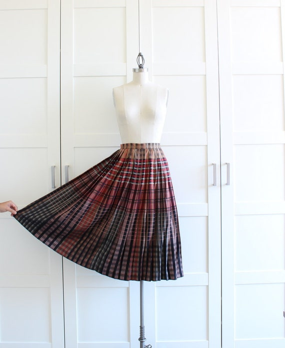 SALE - 70s 1970s Plaid Pleated Skirt, Full Circle Tea Length Midi Skirt, size Small Medium
