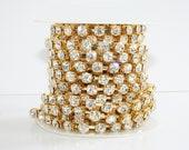 8mm Rhinestone Chain Gold Plated Crystal Glass Rhinestone Chain One Yard