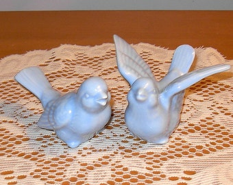 "Ceramic Love Birds Wedding Cake Topper  -  ""Baby Blue"""