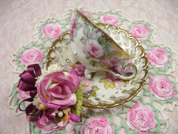 RESERVED FOR MARGARET  Vintage Teacup & Saucer Pink Roses Footed Royal Sealy Irish Linen Hankie and Pink Rose Millinery Corsage Pin Gift Set