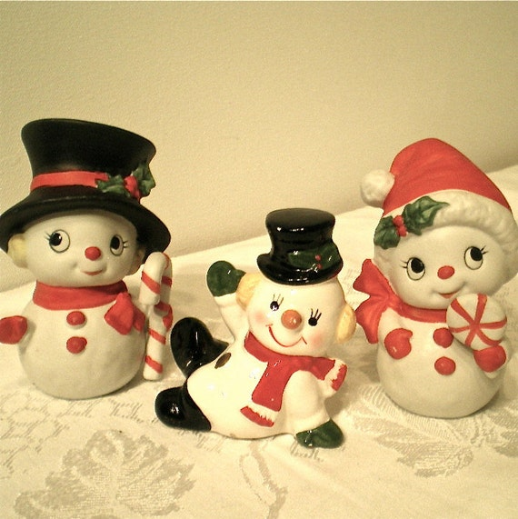 Christmas, Snowmen, Vintage Snowman, Home Decor,  Figurines, Glass, Porcelain, Set of 3