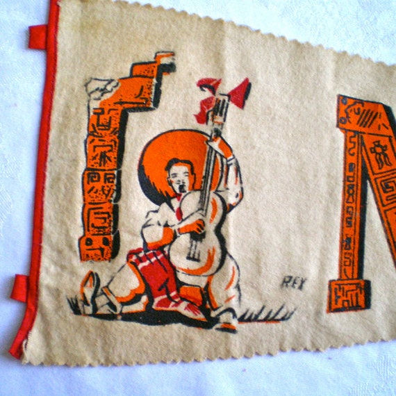 Mexico, Vintage Banner, Pennant, Souvenir,  Aztec, Guitar, Orange, Travel, 1950's, Kitsch, Retro