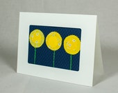 Handmade Fabric Greeting Card - Yellow Flowers - Navy Blue