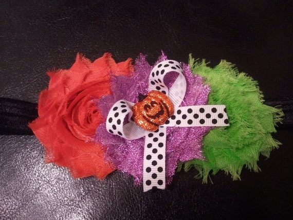Free shipping Halloween shabby flower headband