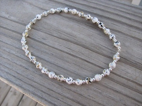 White Ankle Bracelet -Ankle Candy in Speckled White, Round Beaded Ankle Bracelet