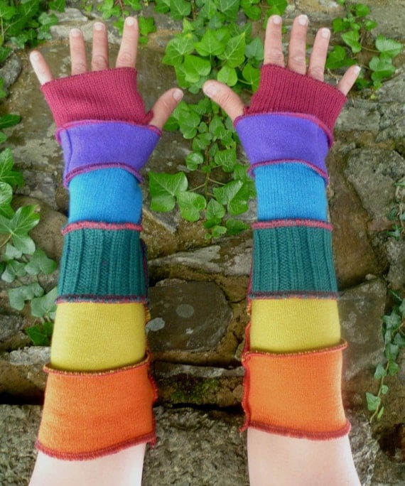 One of a kind rainbow arm warmers fingerless gloves from recycled sweaters  by SpiralGypsy