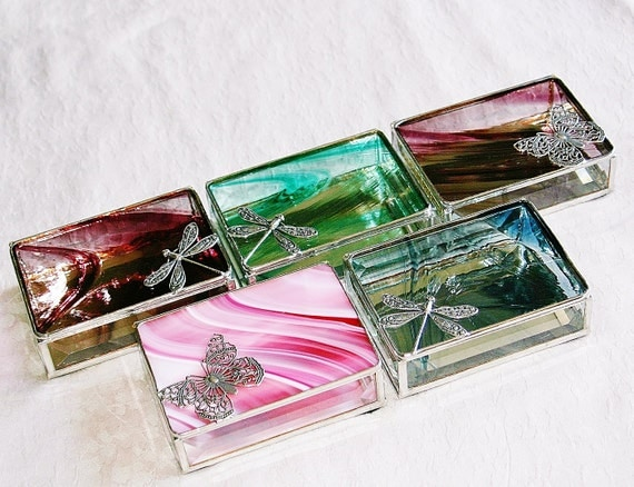 Bridal Attendant Gifts Stained Glass Jewelry Boxes - Custom Made To Order Bridesmaid Gifts