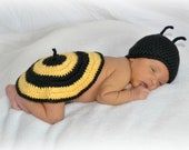 Crochet Newborn Bumble Bee Shell and Hat Set Photo Prop - MADE TO ORDER