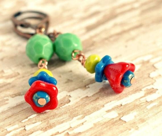 colorful flower drops antique copper lever back earrings