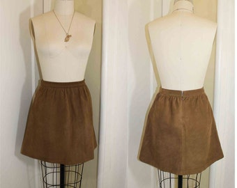 BoHo Brown Leather Mini Skirt  Size 6