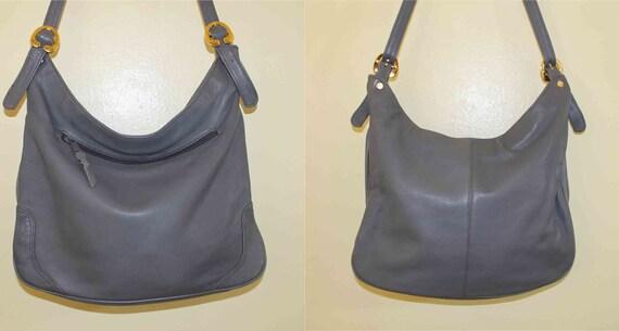 1980s  Boho  Vintage Brio Grey Gunmetal  Leather Shoulder  Strap Bag
