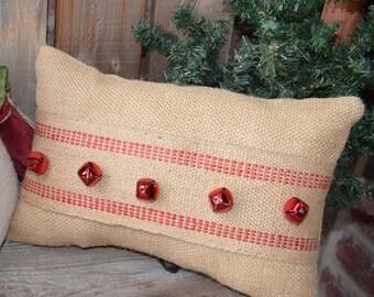 Christmas Pillow, Christmas Burlap pillows, Red Jingle bells, Rustic Christmas pillow, Christmas burlap decoration, Holiday pillow, Xmas