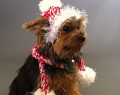Red and White Dog hat and Tube Scarf with Pom Pom - small