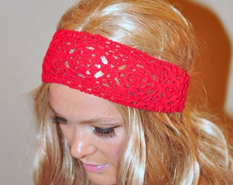 Red Headband COTTON Crochet Hair Scarf Headcover Red Scarlet Headband Cotton Lace Gift under 25