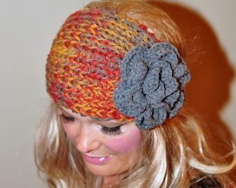 Crochet HEADBAND Ear warmer head wrap Earwarmer CHOOSE COLOR Pumpkin Print Gray Grey Gray Red Pumpkin Crochet Flower Hat Girly Gift under 50